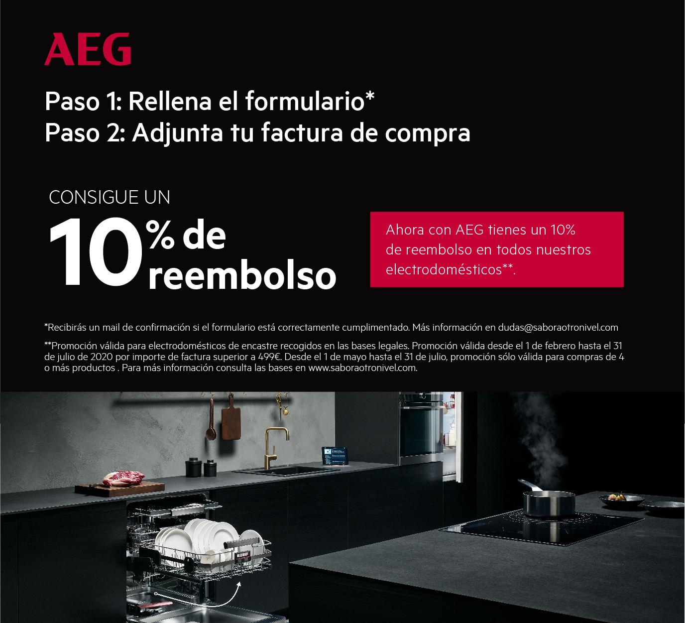 Llévate un reembolso del 10% de tu compra por la compra de uno de los modelos de la gama encastre de AEG