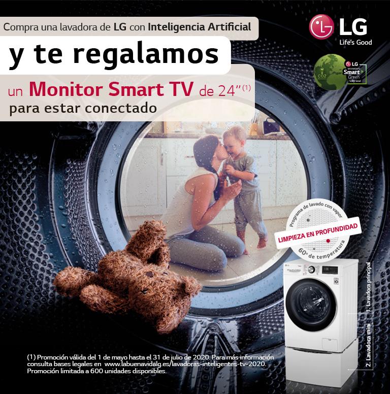 Llévate un monitor Smart TV por la compra de tu Lavadora LG con Inteligencia Artificial
