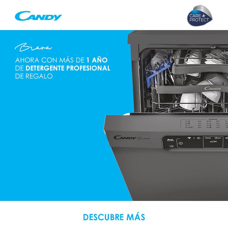 Llévate MÁS DE 1 AÑO DE DETERGENTE PROFESIONAL DE REGALO por la compra de un lavavajillas Candy de la gama Brava