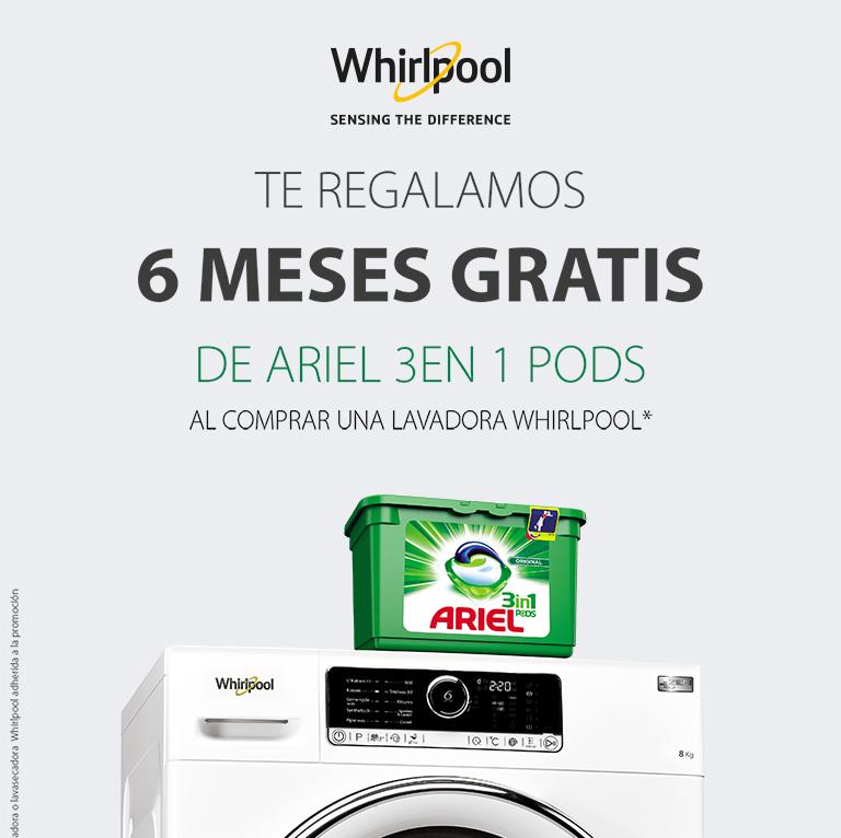 Llévate 6 meses gratis de detergente por la compra de tu Lavadora Whirlpool