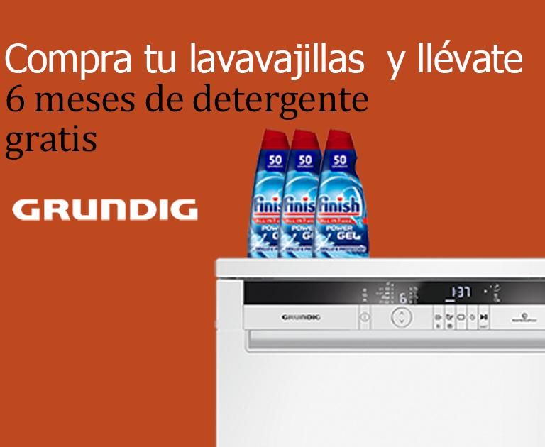 Llévate 6 meses gratis de detergente Finish por la compra de tu Lavavajillas Grundig