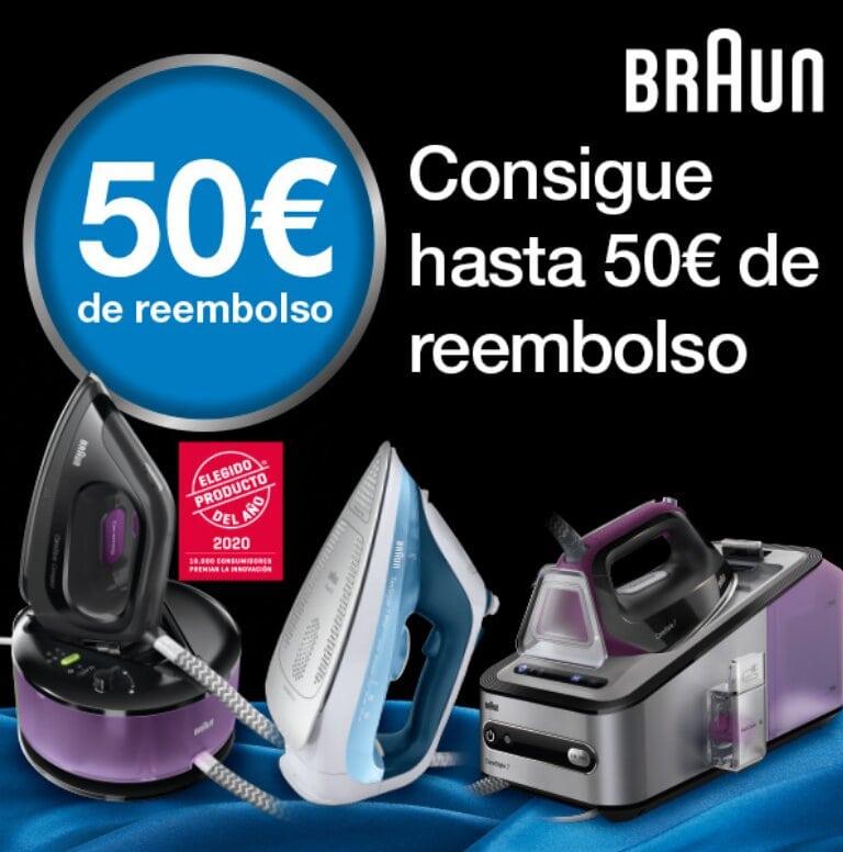 Llévate hasta 50 euros de reembolso  por la compra de tu Plancha Braun