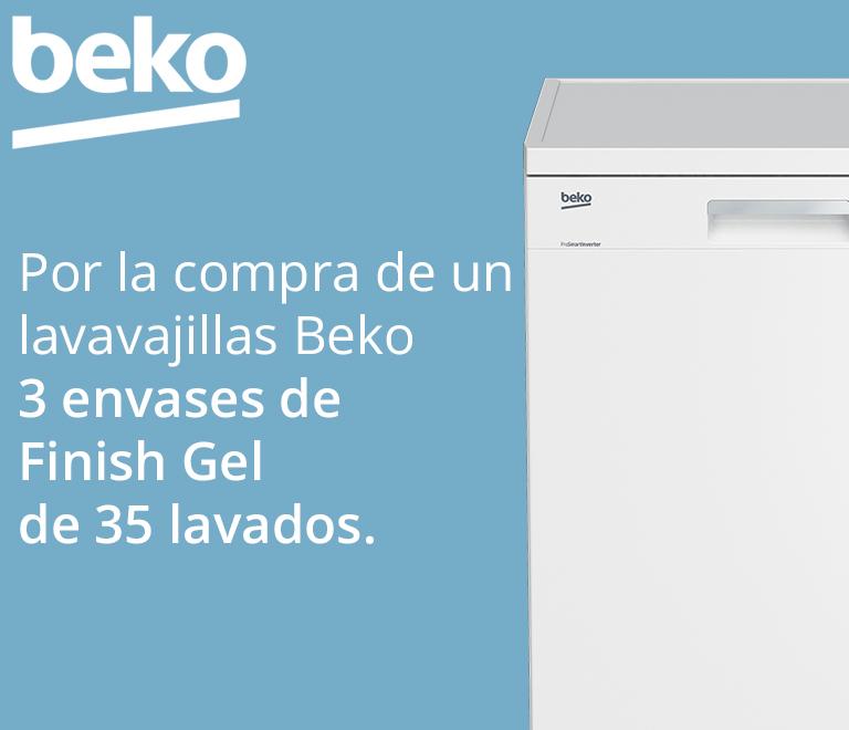 Llévate 3 envases de Finish Gel de 35 lavados cada uno, equivalentes a 6 meses de duración por la compra de tu Lavavajillas BEKO