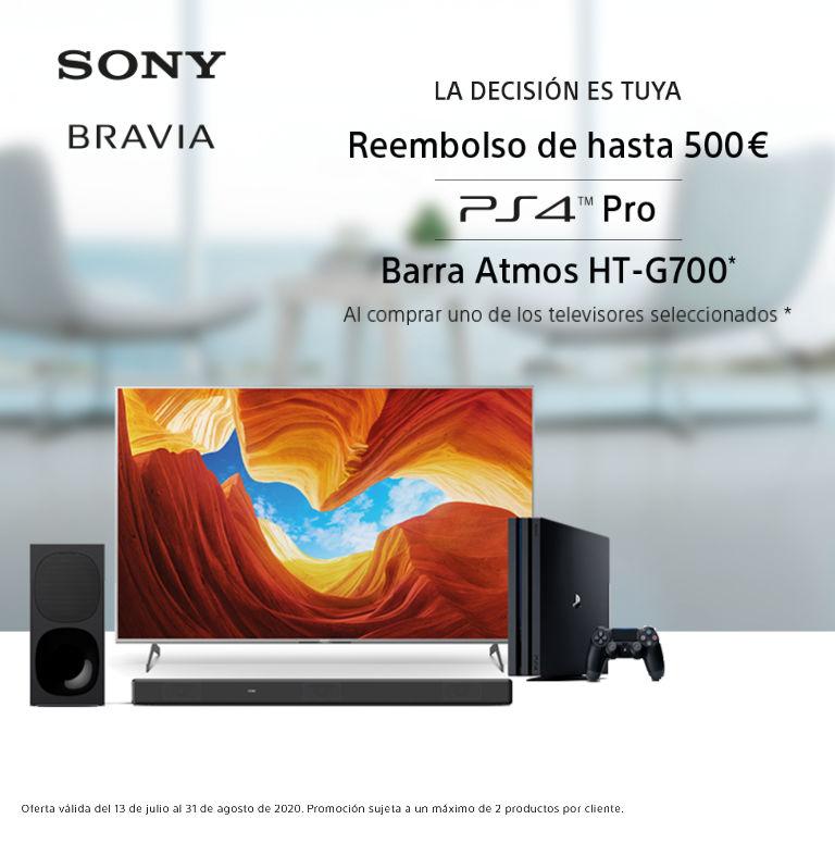 Consigue hasta 500€ de reembolso, una PS4 Pro o una Barra de Sonido HT-G700 por la compra de tu Televisor SONY