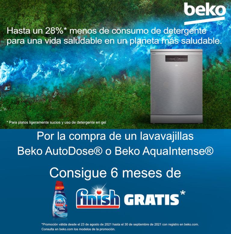Compra tu lavavajillas AutoDose - AquaIntense Beko y consigue 6 meses de Finish Gratis