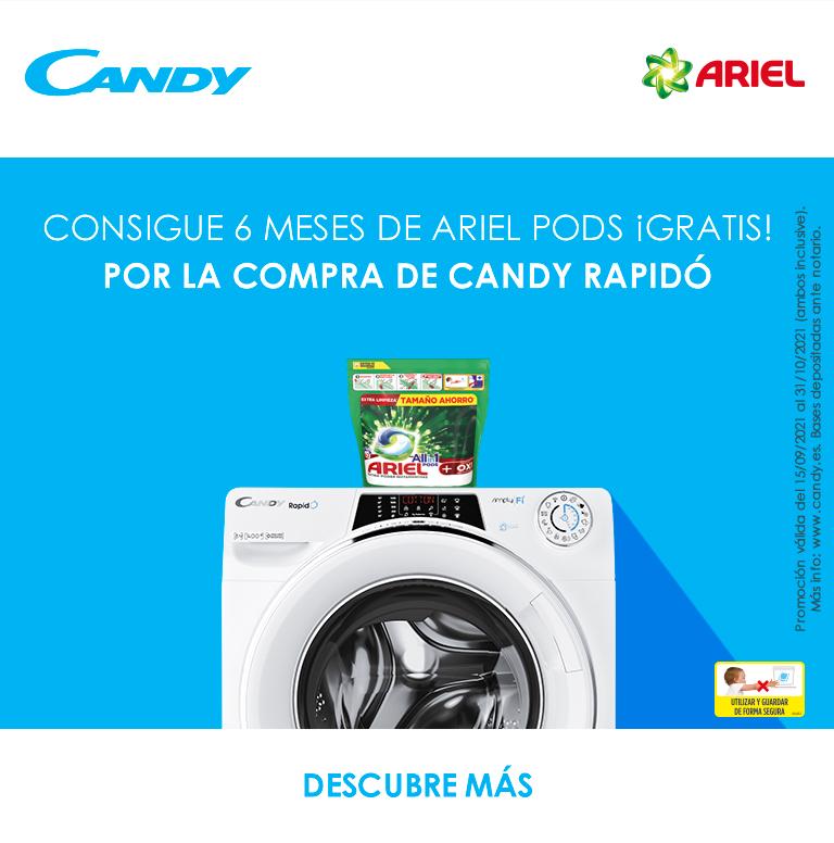 Compra tu lavadora Rapido Candy y consigue 6 meses de Ariel Pods de regalo
