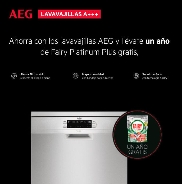 Consigue un año de detergente Fairy Platinum Plus gratis por la compra de un lavavajillas A+++ AEG