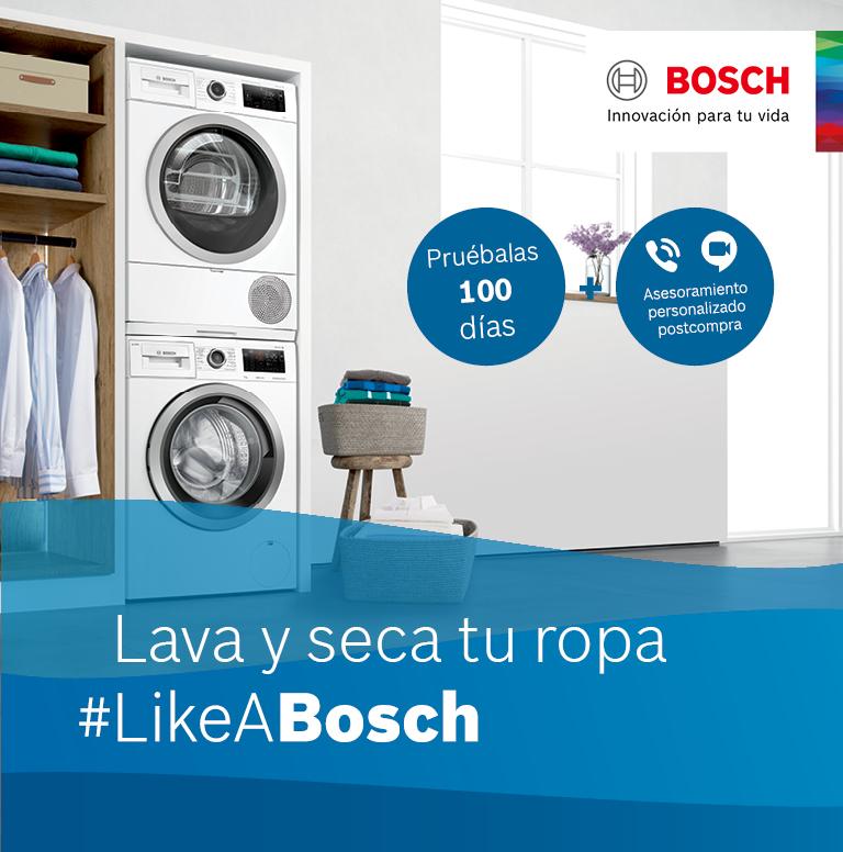 Compra tu lavasecadora o conjunto de lavadora y secadora Bosch y consigue asesoramiento gratuito postcompra y 100 días de prueba