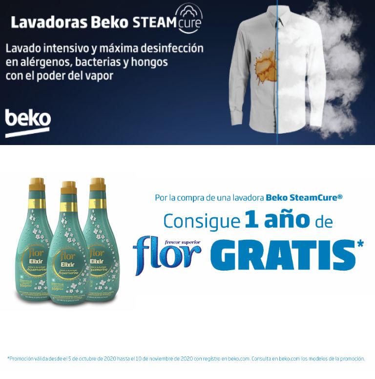 Consigue 1 año de suavizante Flor de regalo por la compra de tu lavadora SteamCure Beko