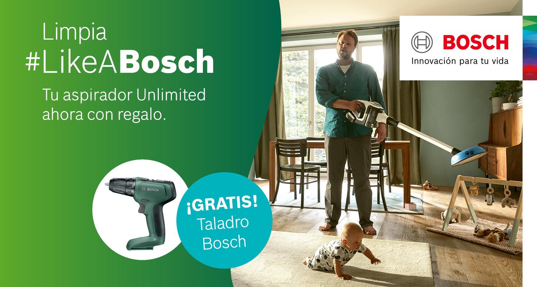 Compra de un aspirador Unlimited Bosch y consigue una atornilladora taladradora de regalo