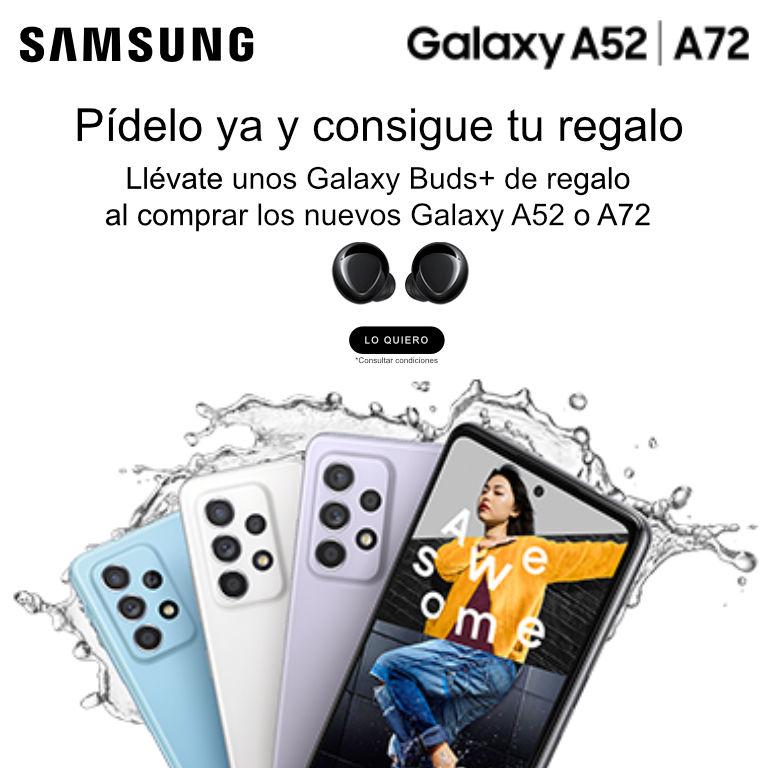 Compra tu smartphone Galaxy A52 o A72 Samsung y consigue un set de Galaxy Buds de regalo