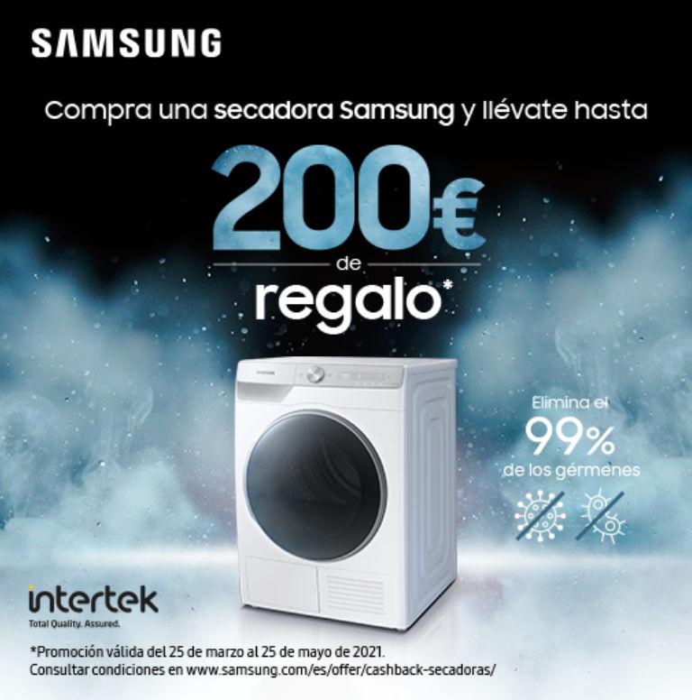 Compra tu secadora Samsung y consigue un reembolso de hasta 200€