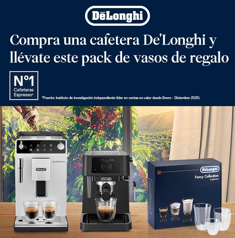 Compra tu cafetera superautomática o espresso De'Longhi y consigue una Fancy Box Collection de 6 vasos