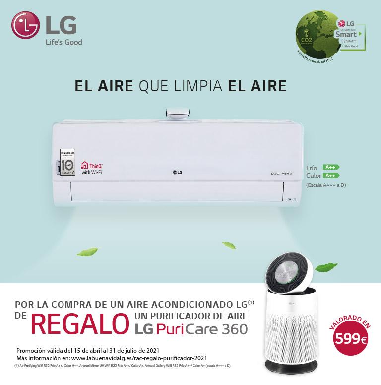 Compra tu aire acondicionado LG y consigue un purificador de regalo