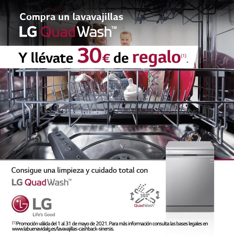 Compra tu lavavajillas LG y consigue 30€ de reembolso