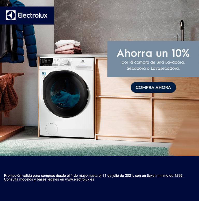 Compra tu lavadora, lavasecadora o secadora Electrolux y consigue un 10% de reembolso