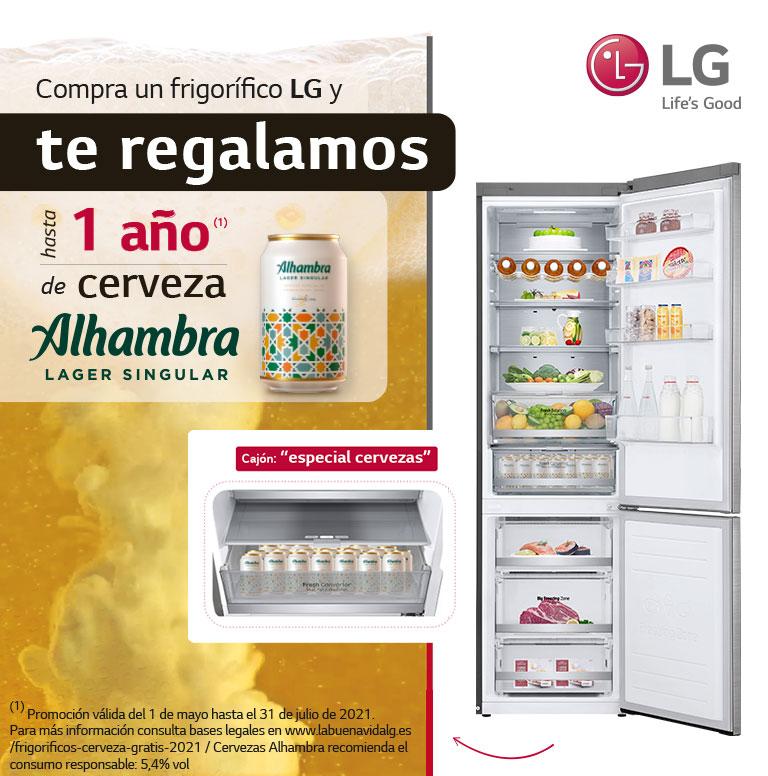 Compra tu frigorífico LG y consigue hasta 1 año de cerveza Alhambra