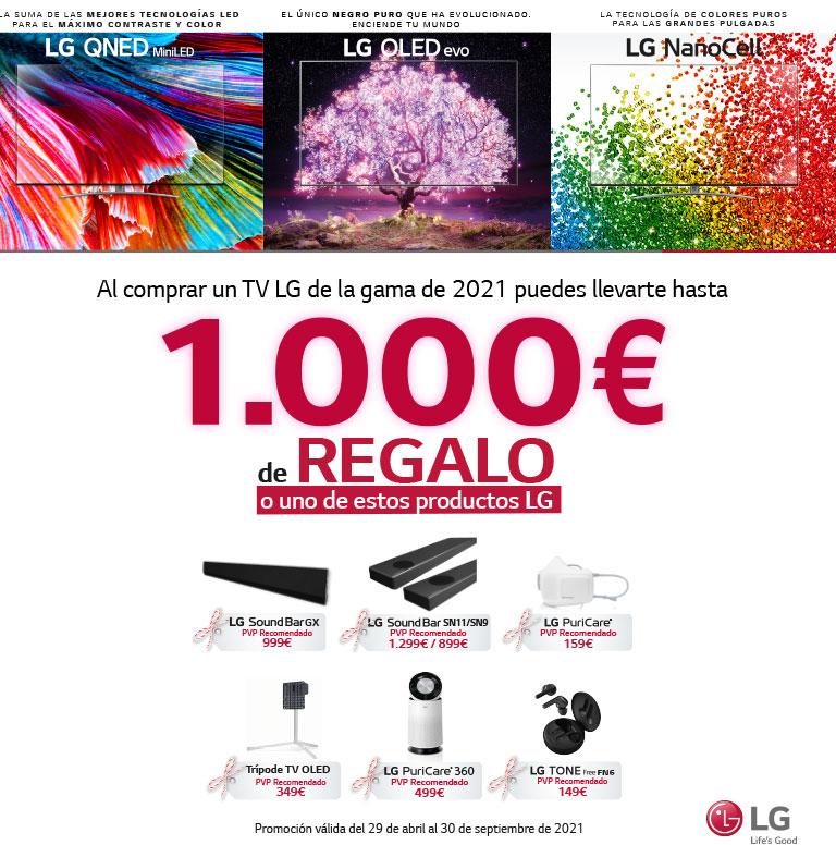 Compra tu televisor OLED, QNED o Nanocell LG y consigue un reembolso determinado o un producto