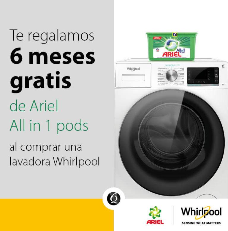 Compra tu lavadora Whirlpool y consigue 6 meses de detergente