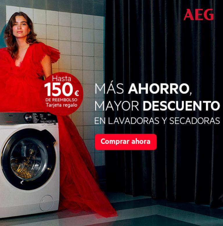 Compra tu lavadora o secadora AEG y consigue hasta 150 euros de reembolso