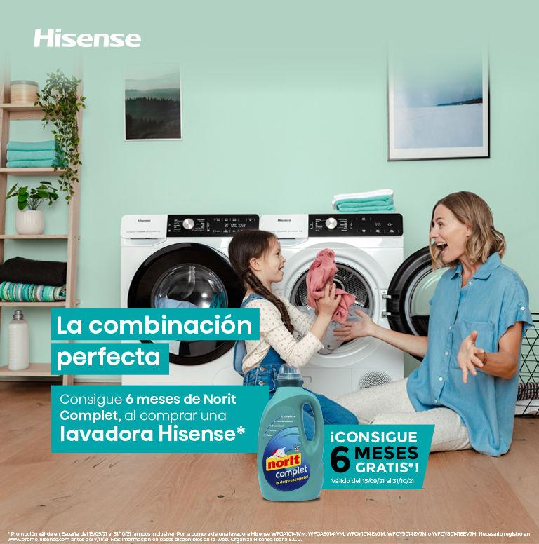 Compra tu lavadora Hisense y consigue 6 meses de Norit